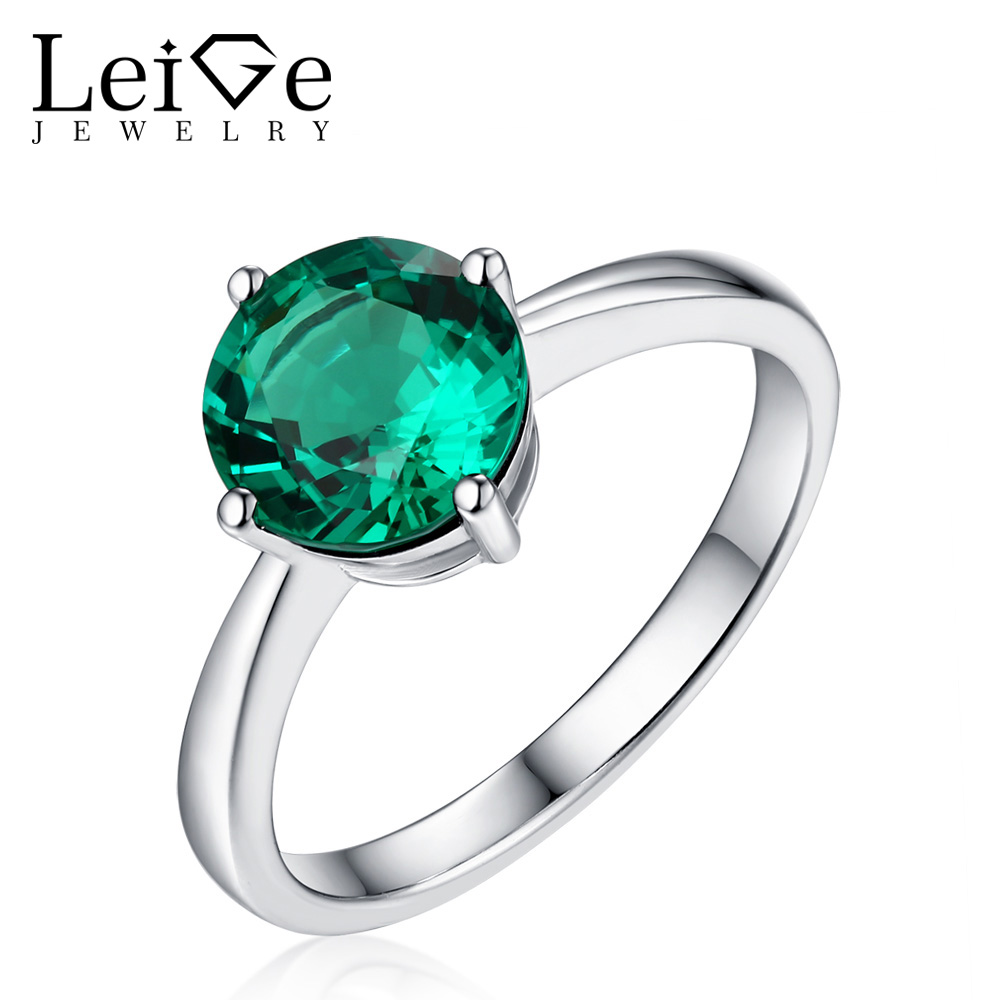 Leige Jewelry Classic Round Cut Emerald Ring Solitaire Silver 925 Prong Setting Engagement Rings for Women May BirthstoneLeige Jewelry Classic Round Cut Emerald Ring Solitaire Silver 925 Prong Setting Engagement Rings for Women May Birthstone