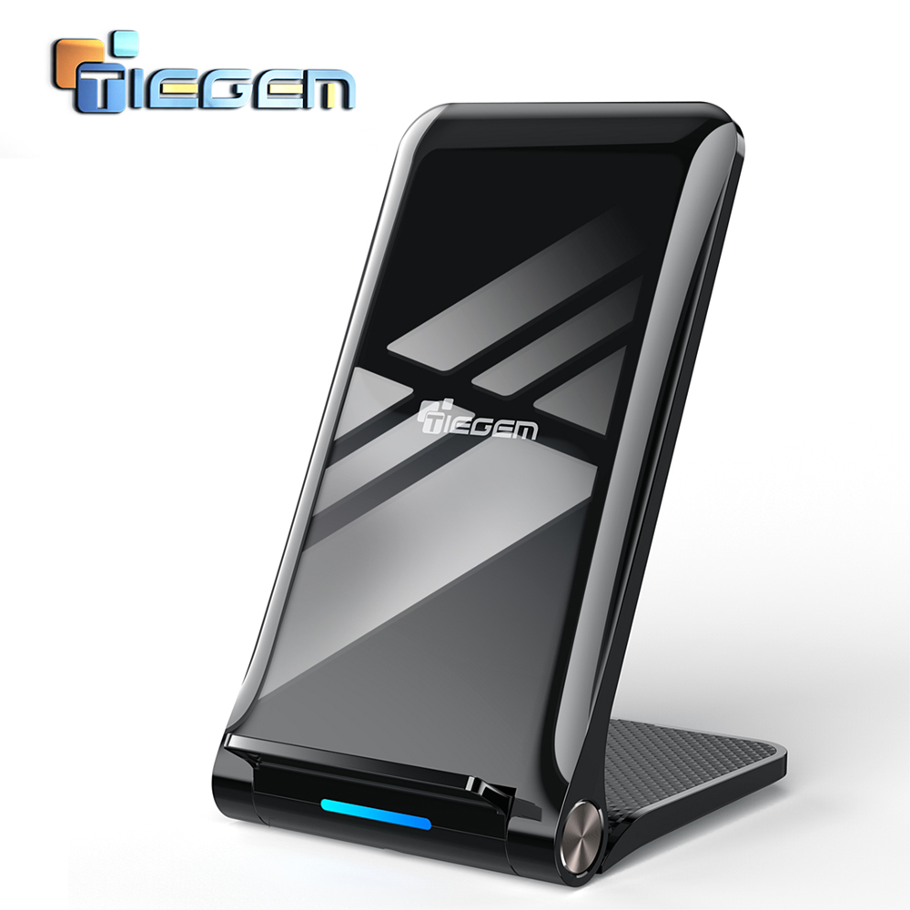 TIEGEM 10 W Qi inalámbrico cargador para Samsung Galaxy S8 S9 S7 cargador USB inalámbrico para iPhone 8X8 Plus carga rápida inalámbrica Pad
