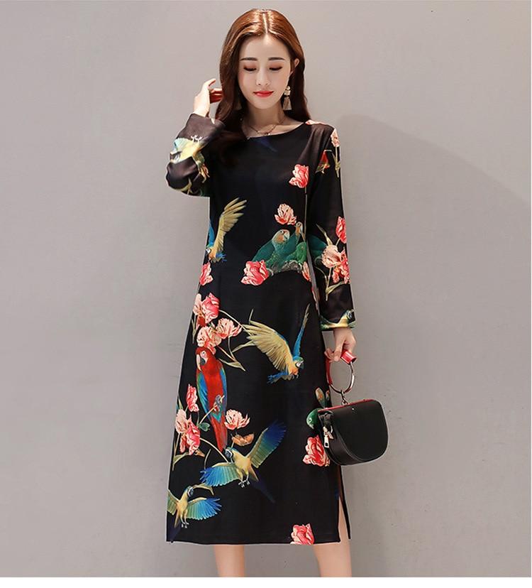 Robe Vestido Women Dress Vintage Floral Birds Printed Autumn Side Slit Long Sleeve Elegant Mid Calf Elegant Dresses Plus Size-in Dresses from Women's Clothing on AliExpress - 11.11_Double 11_Singles' Day 1