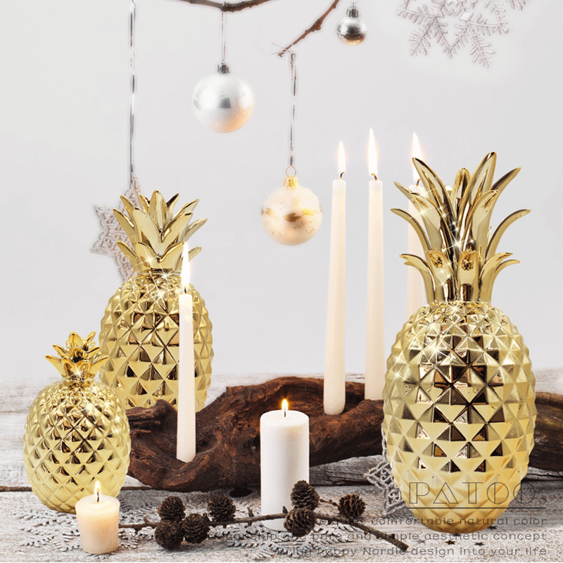 Cerative Ceramic Pineapple Ornaments Hand-painted Gold living room decoration ornaments home decor Craft