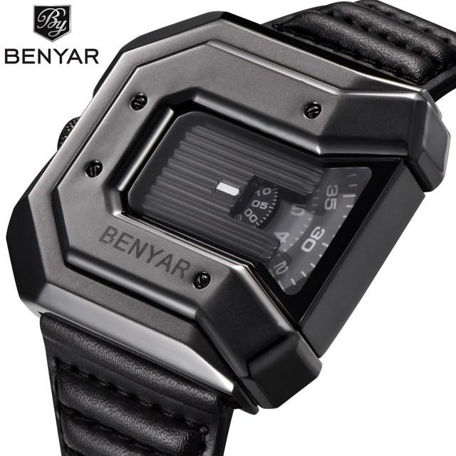 2019 New Fashion Mens Watch BENYAR Militray Quartz Leather Waterproof Watches Relogio Masculino erkek kol saati zegarek meski