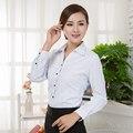 Женщины Блузки 2017 Офис Леди Рабочая Одежда Плюс Размер Длинным Рукавом Хлопок Основные Рубашки Формальные Женщины Топы Blusas Femininas