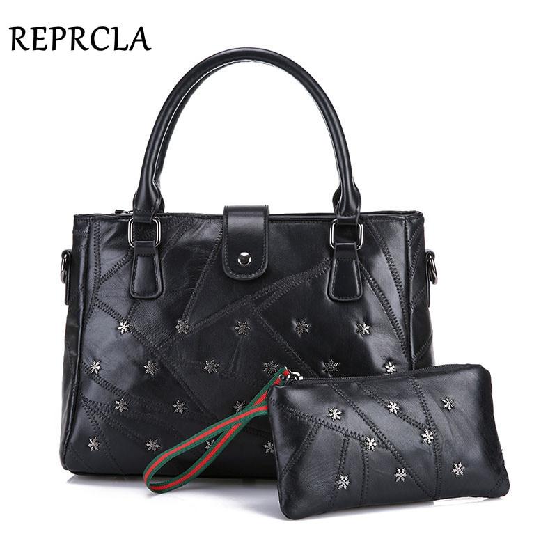 ФОТО New 2pcs/set Genuine Leather Handbags Women Bags Luxury Designer Shoulder Bag High Quality Tote Messenger Bags Evening Clutch
