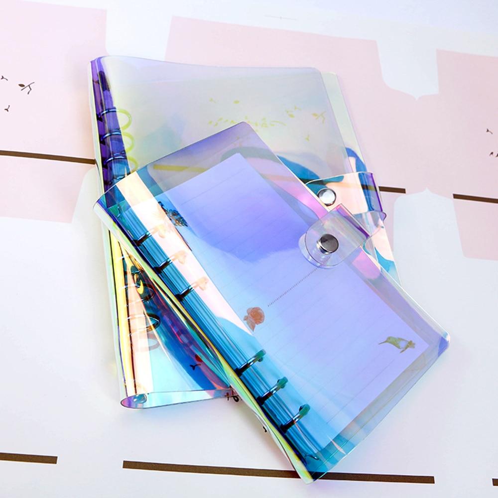 A5 A6 A7 ПВХ Радужный лазерный Прозрачный чехол для ноутбука, чехол для дневника, блестящий лист, блокнот, планировщик, зажим, офисные принадлежности