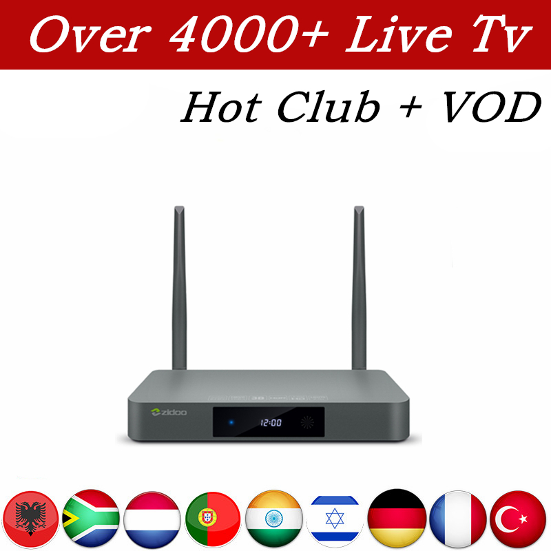 Europe IPTV Box Zidoo X9S Android 6.0 2G/16G iptv server 1 year Subscription iptv Arabic French India Israel USA Portugal Adult