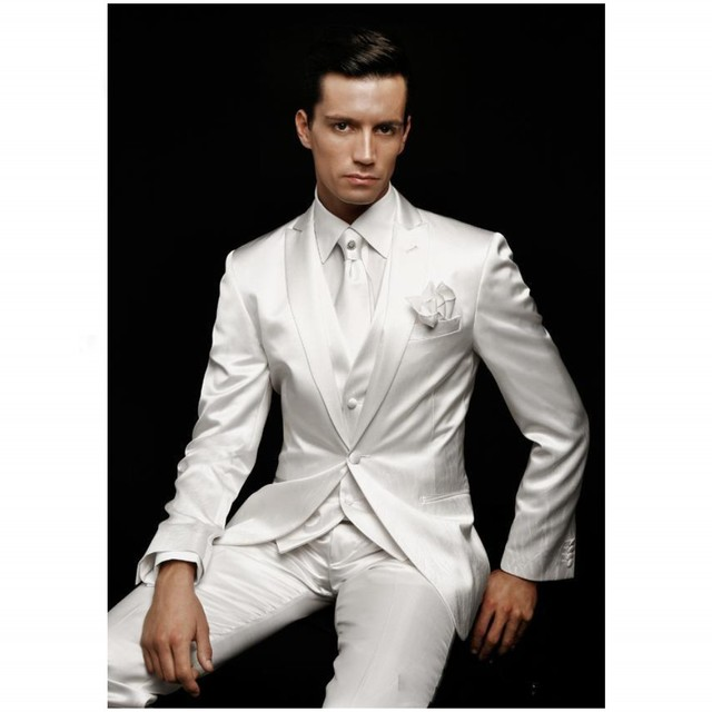 Free shipping White Wedding Suits For Man Suits  tie suit custom made wedding suit mens tuxedo pants jacket vest  Hot sale