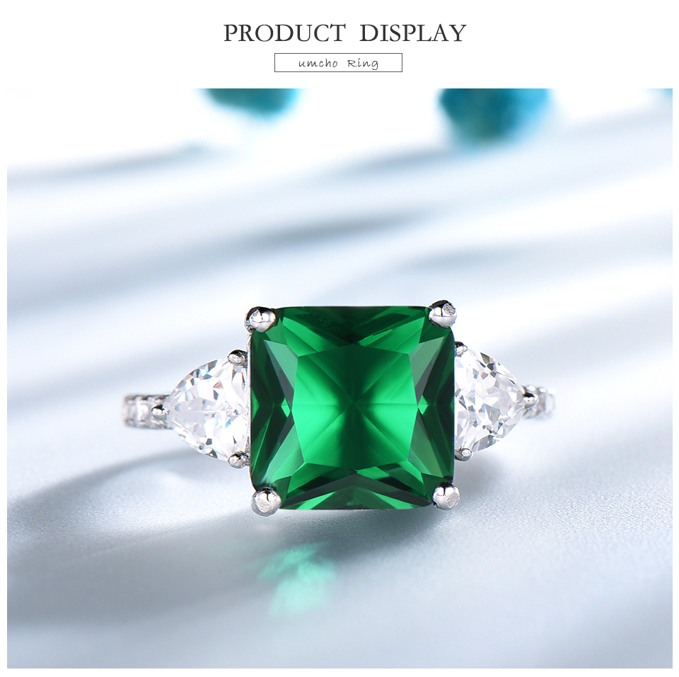 UMCHO Emerald  925 sterling silver rings for women NUJ092E-1 -pc (3)