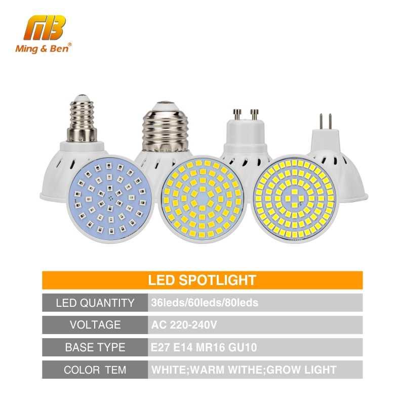 E27 E14 MR16 GU10 лампада светодиодные лампочки 220V 240V Bombillas лампа 5 Вт 6 Вт, 7 Вт, 9 Вт, 12 Вт, светодиодный светильник Точечный светильник 36 60 80 светодиодный s SMD 2835 Светодиодный точечный светильник