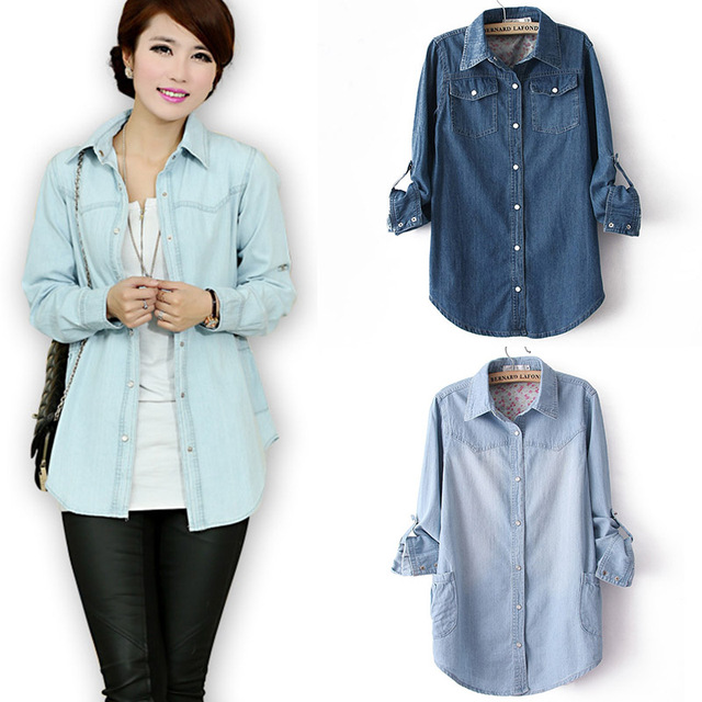 HOT New 2014 Fashion Jeans Full Blusas Casual Jeans Shirt
