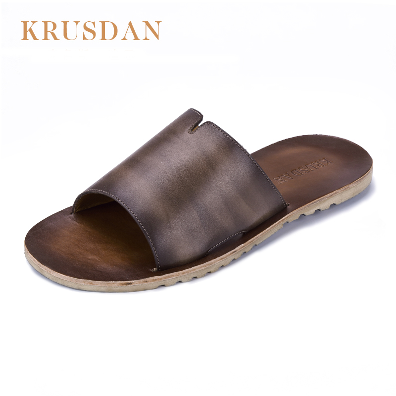 2018 Famous Brand Designer Casual Genuine leather Men Sandals Slippers Summer Fashion Men Outdoor Casual Beach