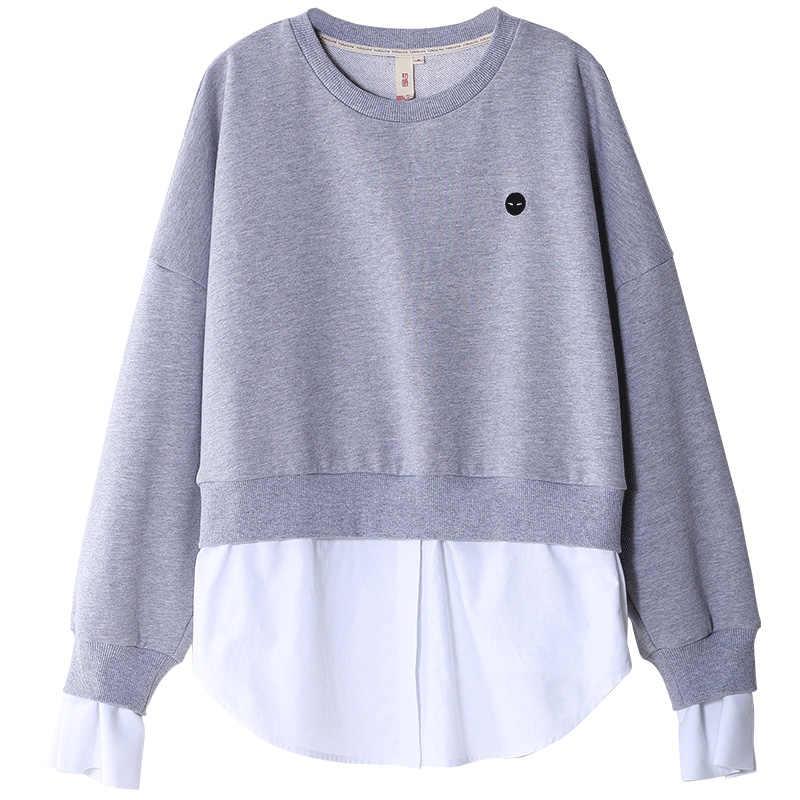 Sudadera de retazos de moda Toyouth 2019 nuevas sudaderas con capucha cuello redondo de manga larga chándal femenino suelto negro y gris