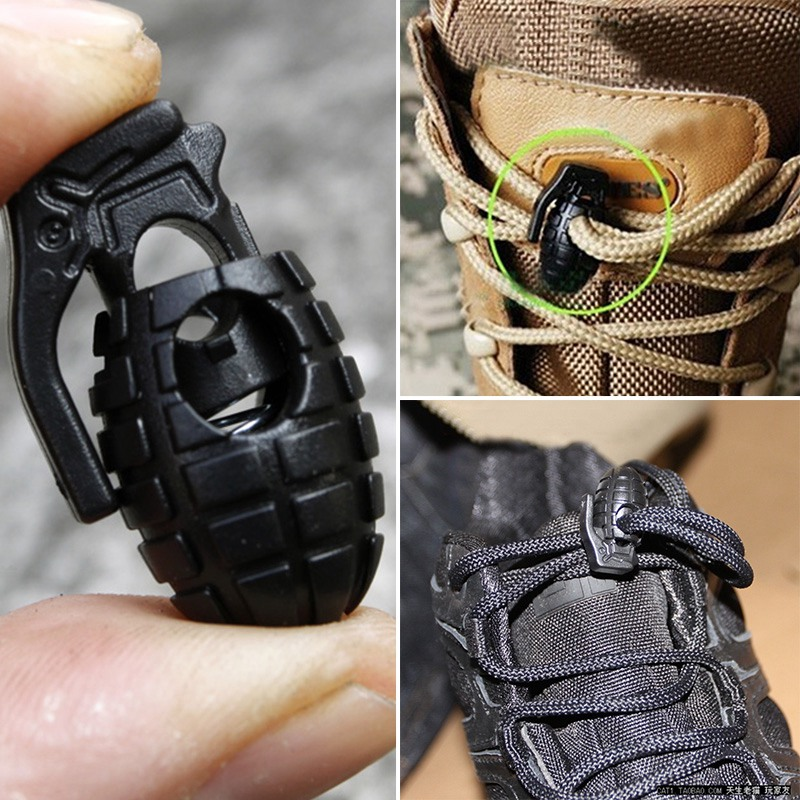 1 Pair Free Shipping Tactical Footwear Hiking Boots Grenade Shape Shoelace Tightening Non-slip Buckle Shoelace Clip