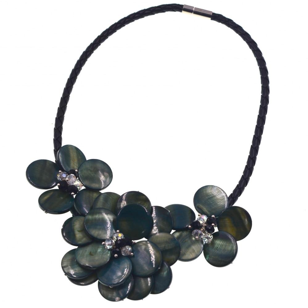 Noble Female Jewelry Dark Green shell Flower choker Necklace New Fashion Jewelry Dress Accessories