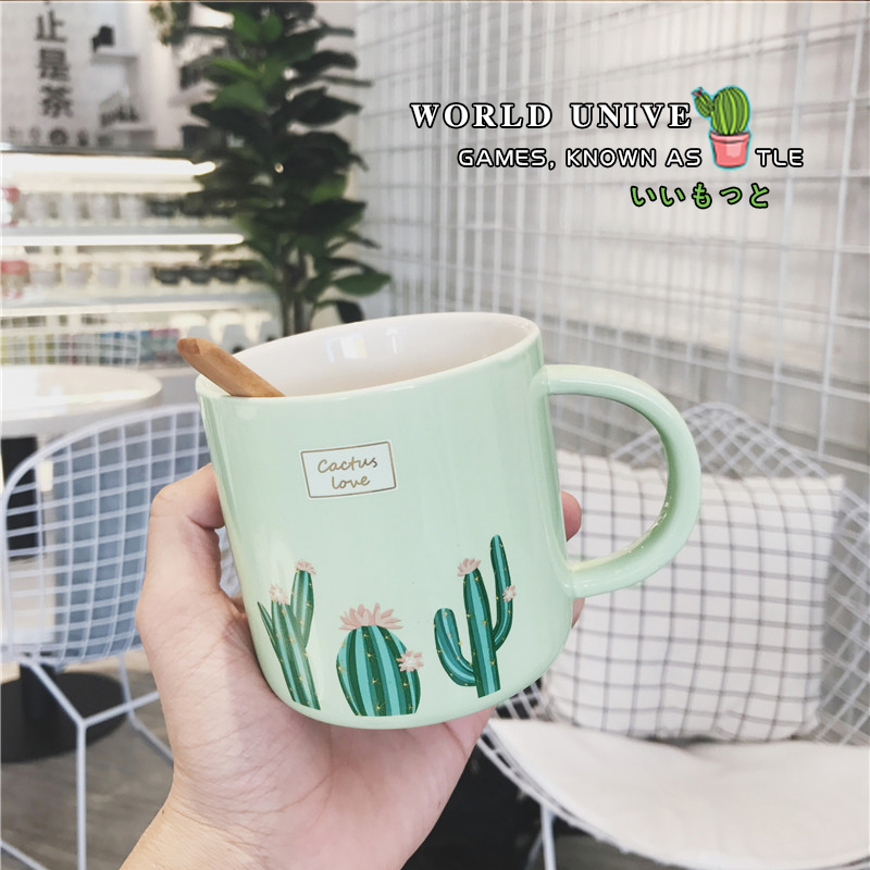 Innovative Cactus Ceramic Cup Coffee Milk Tea Cup With Handle Water Drinking Cup Office Home Drinkware Couple Gifts taza de m&m