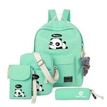 Холст печати мешок панда Мода 2017 г. 4 шт./компл. рюкзак женская сумка высокого качества Sacs d'école для подростков Meninas скидка 30%