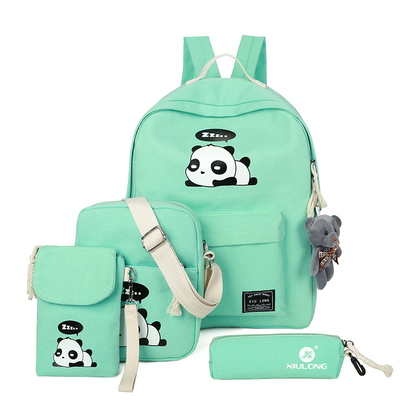 Canvas Printing Panda Bag Fashion 4piece / Set Backpack Women Female Bag High-Quality School Bags For Teenage Girls 30%OFF atos lombardini комплект