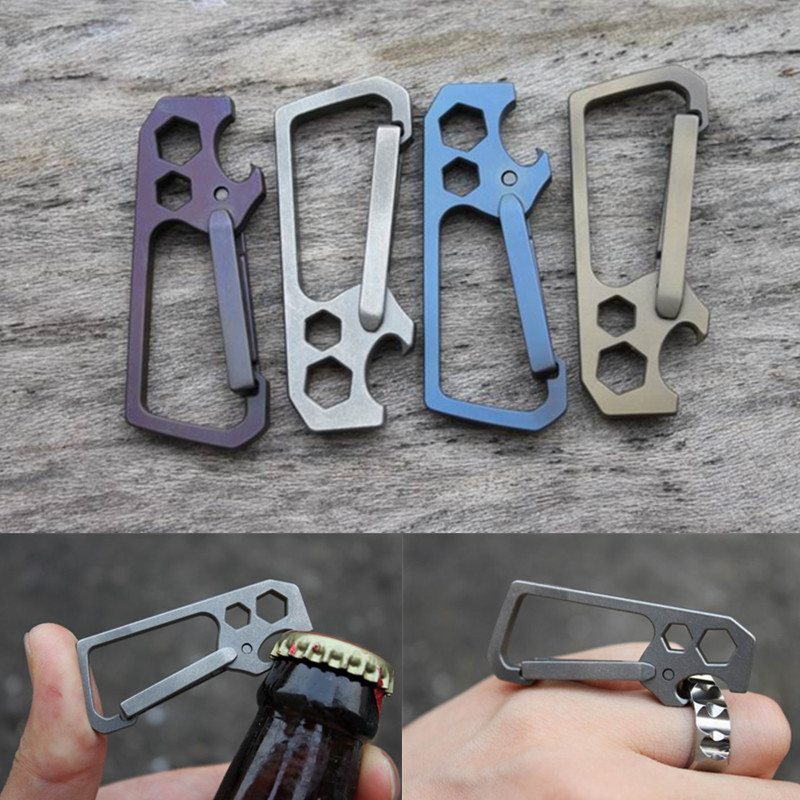 Bottle Opener EDC Outdoor Camping New Multi function Titanium Alloy One Spring Anti lost Fast Fastener