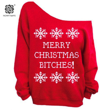 NORA TWIPS 2017 Autumn Style Women Fashion Christmas Full Sleeve Sweatshirts Plus Size Sexy Slash Neck Hoodies Women (S-XXL)