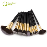 GreenDoor 10pcs Lot Professional Wood Handle Makeup Brushes Synthetic Hair Make Up Brushes Portable Makeup Tools