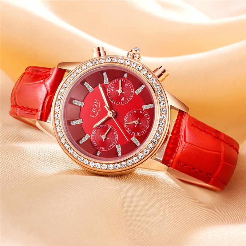 LIGE marca de lujo superior relojes de mujer ocio moda cuero cuarzo señoras diamante vestido reloj regalo femenino reloj femenino + caja
