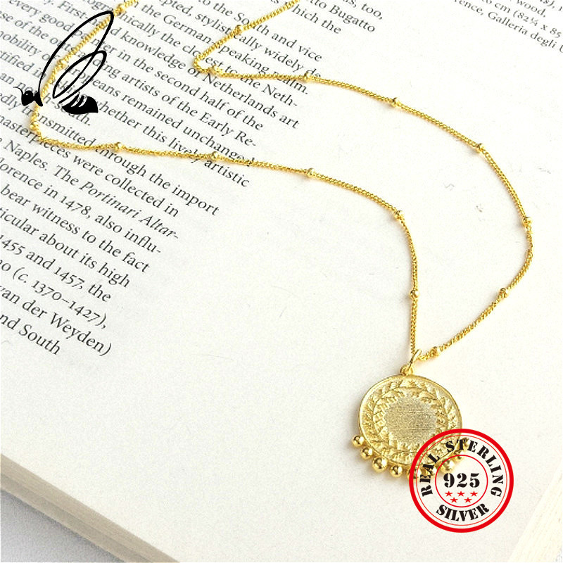 Peace Symbolize Pendant Necklace 925 Sterling Silver Gothic Gold Chain Loves Collar Largo Colar Feminino Jwelry For Women Takı