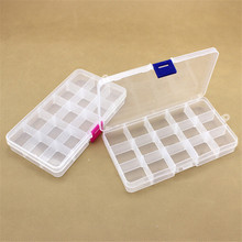 Plastic 15 Slots Jewelry Adjustable Tool Box Case Craft Organizer Storage Beads Carrying Cases Kit