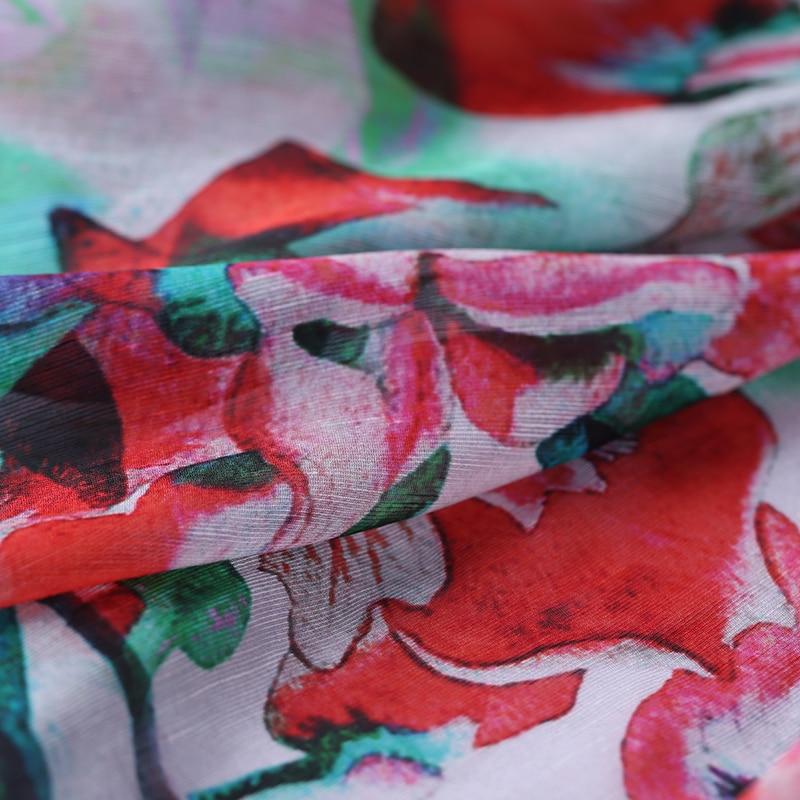 SLK11 50X140CM Red Florals Summer Silk Fabric Cotton Fabric For Women Dress 2018 Silk Scarve Silk Clothing Fabrics DIY Materials