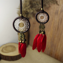 Vintage feather tassel bell pendant long design sweater necklace female Dream Catcher Necklace