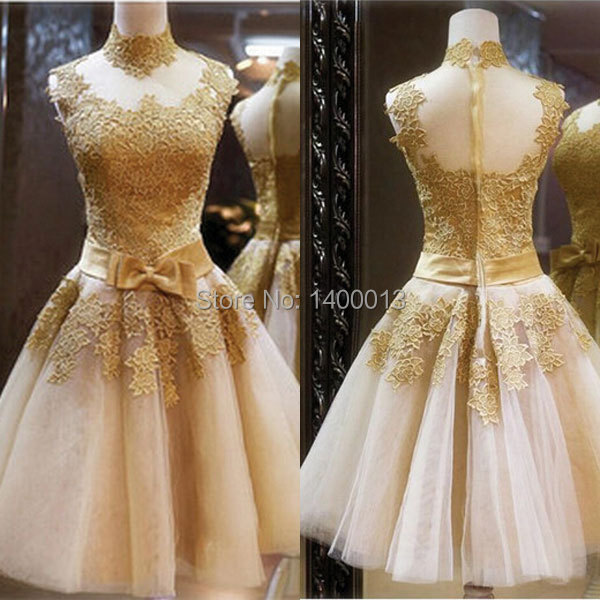Aliexpress.com : Buy High Neck Vintage Prom Dress Short Gold Lace ...