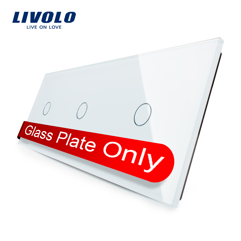 Livolo Luxury White Pearl Crystal Glass 223mm 80mm EU standard Triple Glass Panel VL C7 C1