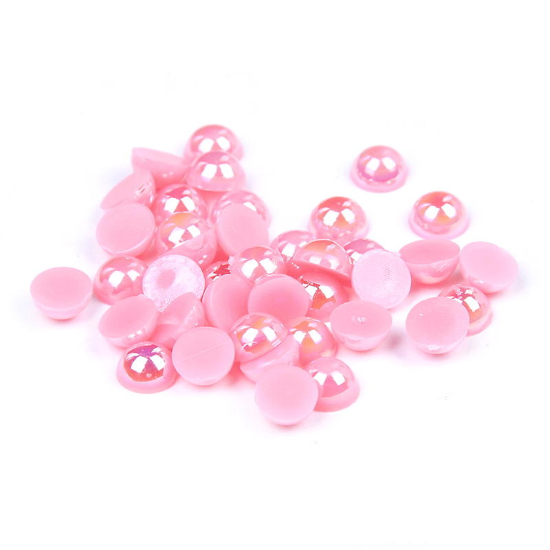 Craft ABS Imitation Half Round Flatback Pearls Resin Diy Scrapbook Beads Pink AB Color Glitter 3D Nails Art Design Decorations free shipping imitation pearls chain flatback resin material half pearls chain many styles to choose one roll per lot
