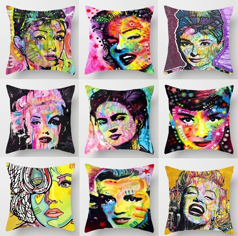 marilyn monroe audrey hepburn coussin couvre coloré peinture À l