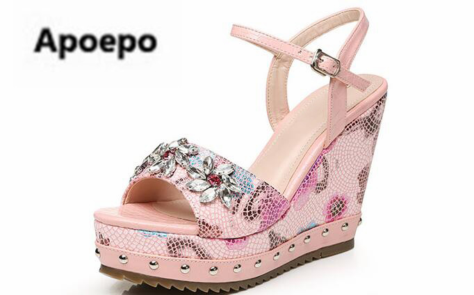 Apoepo print sandals shoes women gladiator sandals platform wedges shoes 10.5 cm heels summer New sexy high heels shoes ladies brand new strap high heels sandals women sandals with platform footwear woman evening shoes women sexy ladies shoes
