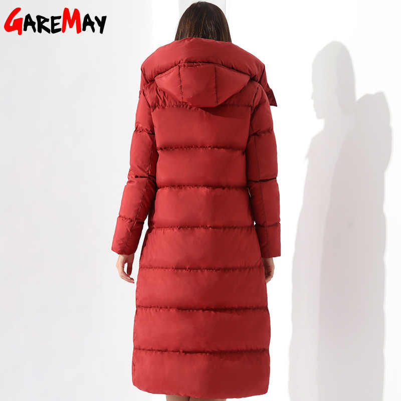 2eb68278328 Down Parka Womens Long Down Jackets Winter Doudoune Femme Coats For Women  Outwear Female Long Hooded Coat Feather Parka GAREMAY