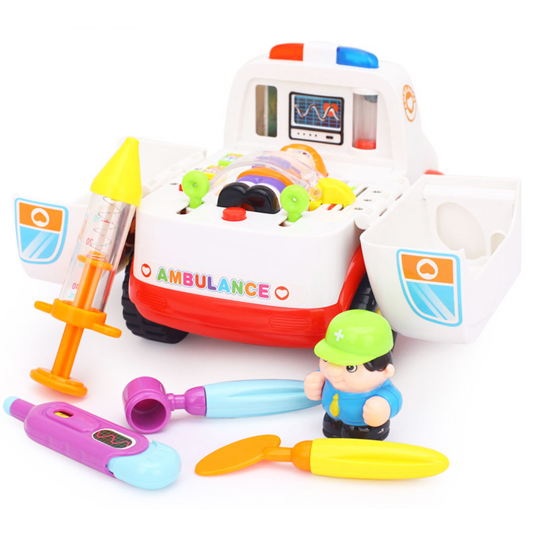 Toy Ambulance Hospital Toy Set Doctor Play set Ambulance Turns Into A Hospital Bed Doctor playset Nurse Kit for Kids in Doctor Toys from Toys Hobbies