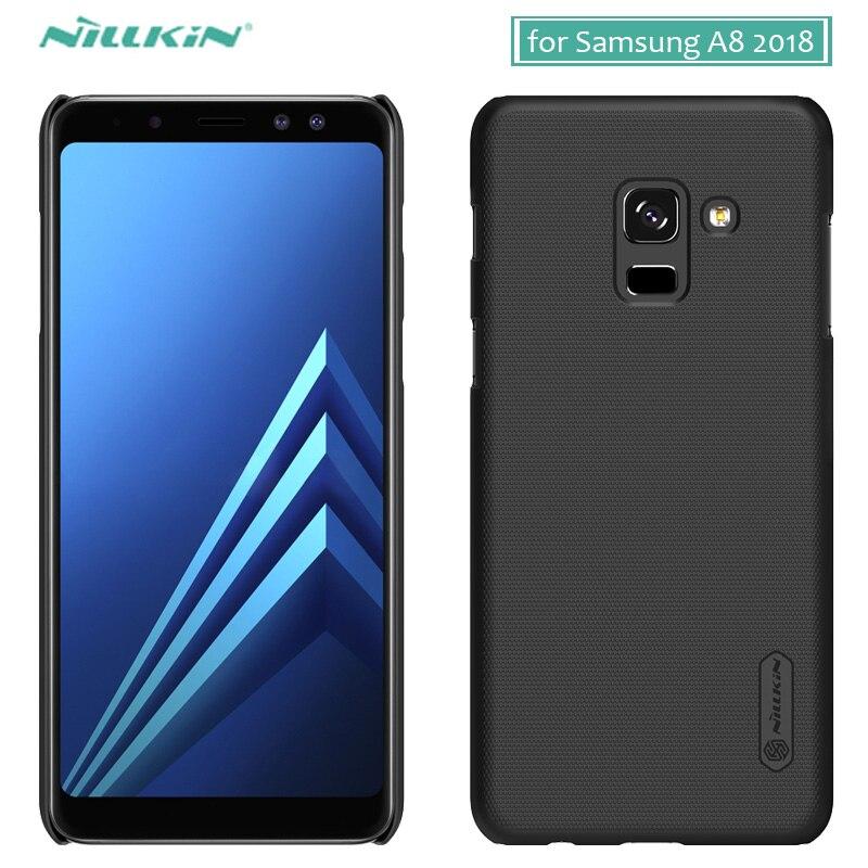 Pour Samsung Galaxy A8 2018 étui Nillkin givré bouclier dur PC couverture arrière étui pour Samsung A8 2018 coque de téléphone + protecteur d'écran