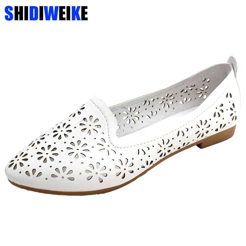 Women's Flats Shoe PU Leather Fashion Hollow Out Ladies Shoes Casual Loafers Women Shoes Leather Handmade Shoes M827 haolida women s flats shoe embroidery fisherman female shoe 2018 spring summer women shoes cut out hollow out casual shoes