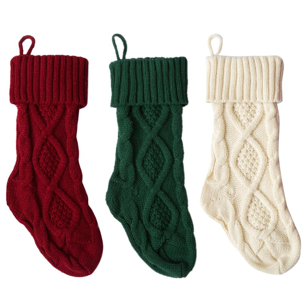 knitted christmas stockings decoration christmas gift bag fireplace decoration green red white christmas sock in stockings gift holders from home garden - Red And White Christmas Stockings