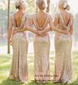 Bling Gold Mermaid Bridesmaid Dress Backless Short Sleeve Long Wedding Guest Dresses 2015 Vestido de Madrinha de Casamento Longo