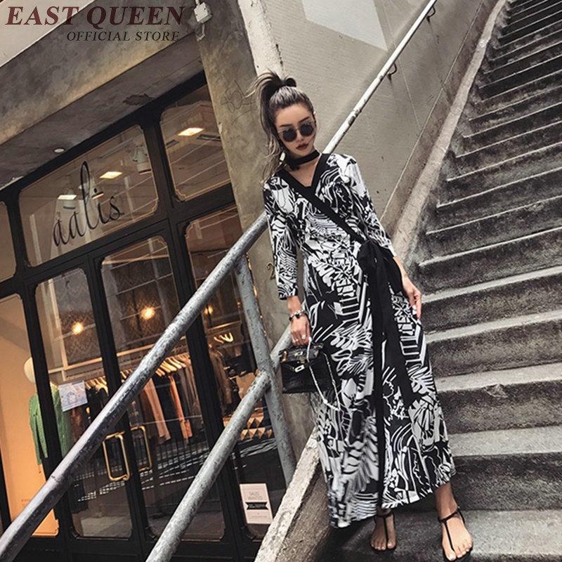 Longueur Longue Nn0749 1 Femmes V D'été Cheville Déco Nouvelle Casual Kimono 2018 Style Robes cou Robe Yq Arrivée Art q8aWwx61