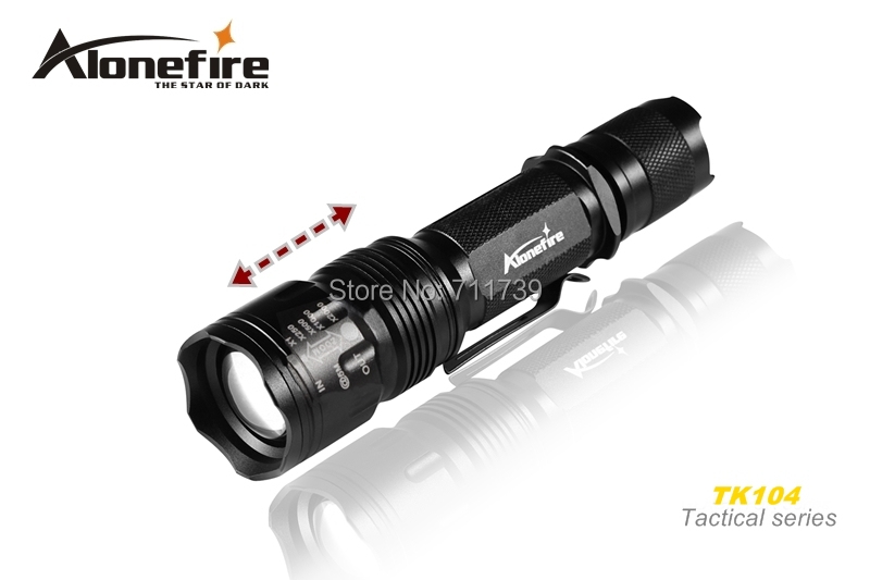 AloneFire TK104 GLADIATOR Series CREE XM-L2 LED 5 mode Zoom portable led flashlight torch lamp For 1x18650 batteries alonefire bk105 1198 lumens cree xm l2 led 3 mode stepless adjusted led flashlight torch lamp for 18650 battery