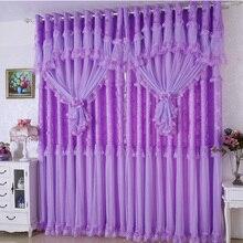 Hot! 3 spitze luxus vorhänge für wohnzimmer mädchen rosa/lila blackout spitze tüll vorhänge für schlafzimmer garn 0645