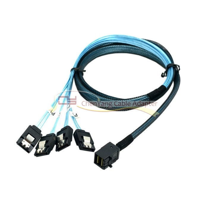 10pcs/ Internal Mini SAS SFF-8643 Host to 4 SATA 7pin Target Hard Disk 6Gbps Data Server Raid Cable 1m ...