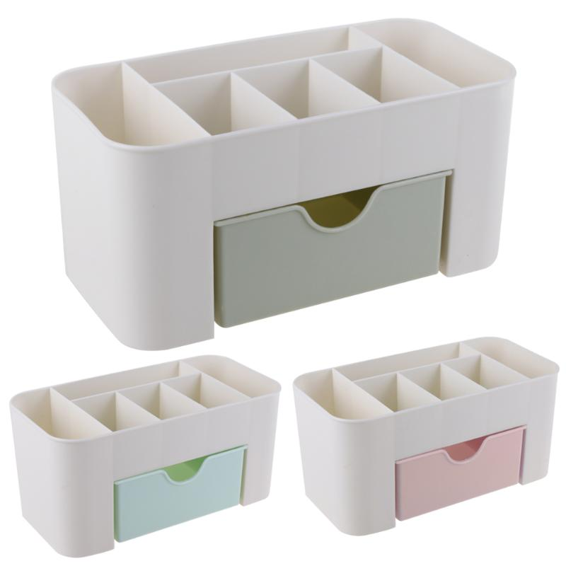 цена ALLOYSEED Office Desk Organizer with Drawer Plastic 6 Grid Storage Box Case Desktop Stationery Pen Pencil Container Accessories