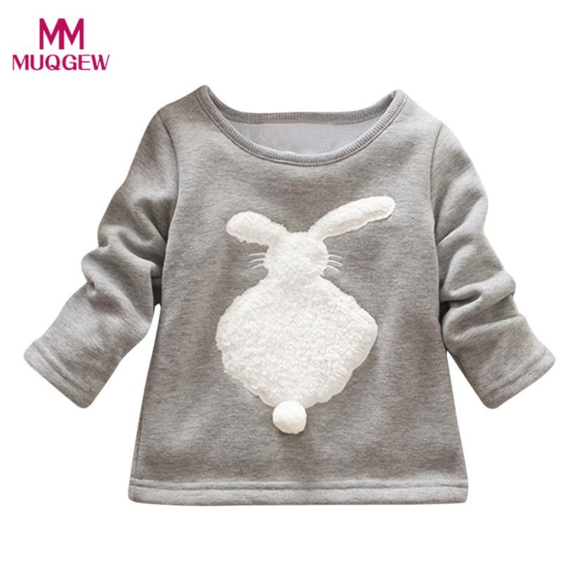 Hot Sale Toddler Kids Girls Boys Cartoon Rabbit Long Sleeve Pullover Sweatshirt Tops Children Kids Cotton Warm Blouse Clothes
