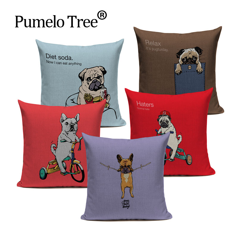 Pug Dog Sports Cycling Cushion Cute Cover Sleep Dog Throw Pillow Cover Animal Cushion Cover Sofa Decoratove Pillow Case Custom
