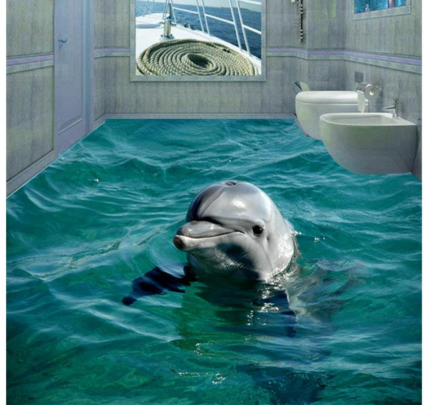 цены 3d sea beach floor dolphin 3D wall murals wallpaper floor Waterproof floor mural painting 3d floor for mural
