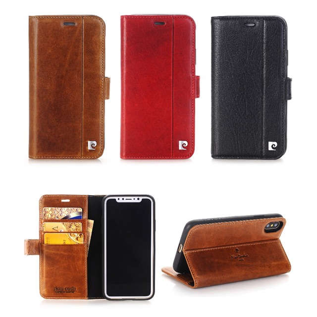 best website a850d c7a0c US $36.99 26% OFF|Pierre Cardin Genuine Leather Cover for iPhone X Case,  Magnetic Book Flip Case Stand Wallet Card Holder for iPhone X Coque-in  Wallet ...