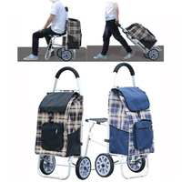 A,High Quality Large Size Aluminum Alloy Shopping Cart with Oxford Cloth Bag Foldable Luggage Climbing Cart With Seat