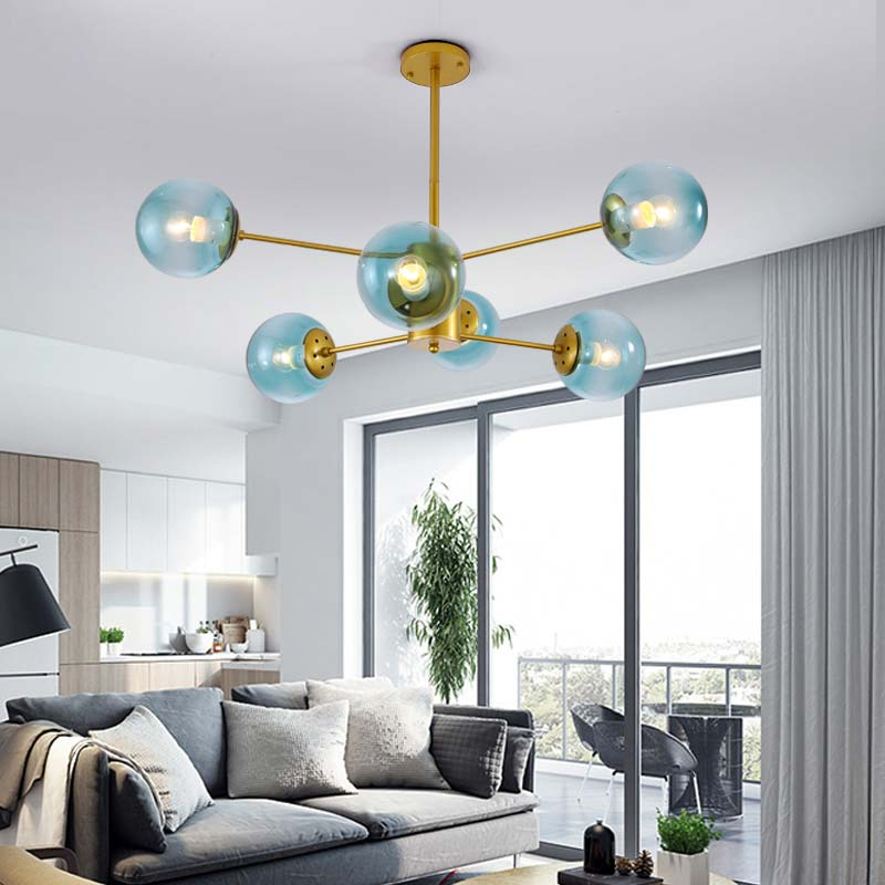 Modern Chandelier For Living Room Bedroom Foyer Lustre Lighting For Home Light Fixtures Glass Lamp Shade White Iron E27 110-220V white glass ceiling lamp modern design frosted glass shade light home collection lighting bedroom foyer doorway cloud lights